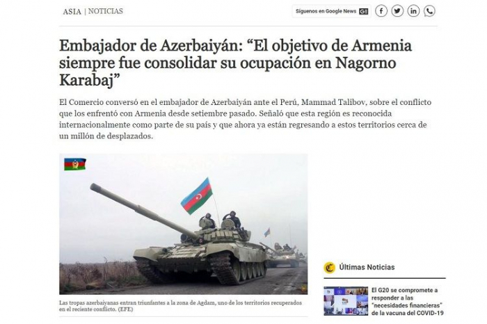 Famous Peruvian newspaper wrote about Armenian aggression