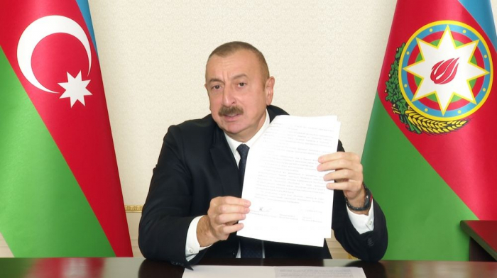 This statement allows us opportunity to return our other occupied regions without bloodshed - Ilham Aliyev