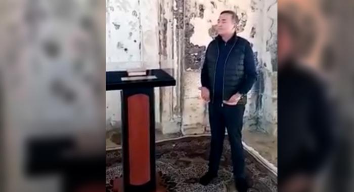 Xalq artisti Ağdam məscidində azan verdi -
