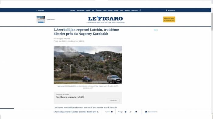 لو فيغارو يكتب عن إعادة لاتشين إلى أذربيجان