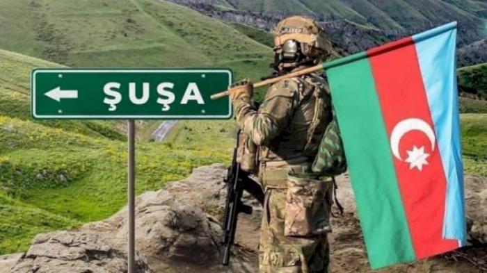 Shusha fortress decorated with large Azerbaijani flag -   PHOTO