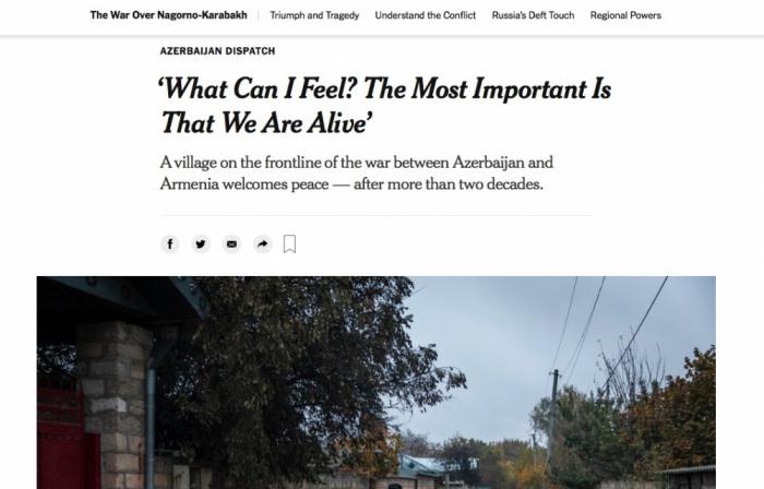 """""""The New York Times"""" qəzeti Ağdamın Çıraqlı kəndindən yazdı"""