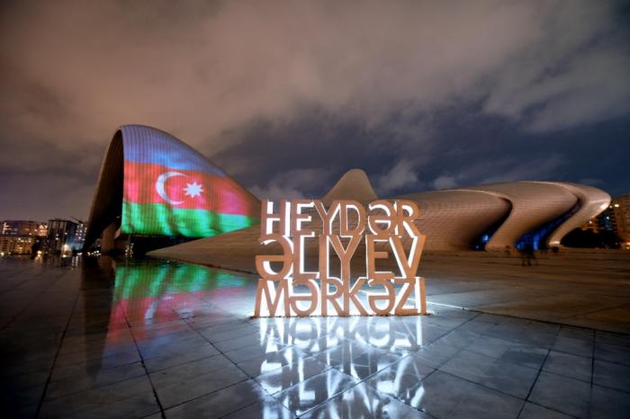 Famous buildings & Stadium in Baku illuminated with Azerbaijan Flag colors -  PHOTOS