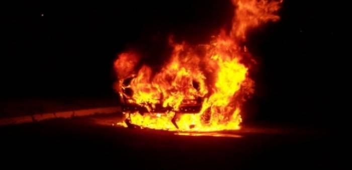 """Qusarda hasara çırpılan """"Lexus"""" yanıb"""