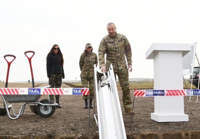 President Ilham Aliyev lays foundation stone of Fuzuli-Shusha road and airport - PHOTOS VIDEO  UPDATED