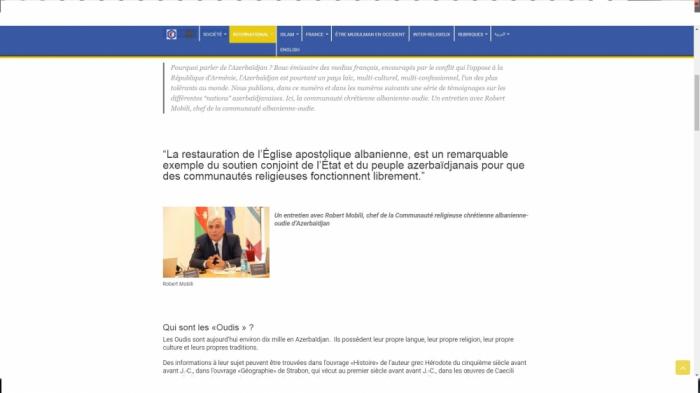 Le journal«Musulmans en France» publieun article sur la communauté chrétienne albanienne-oudie en Azerbaïdjan