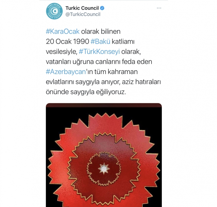 Türk Şurası 20 Yanvarla əlaqədar mesaj yayımladı