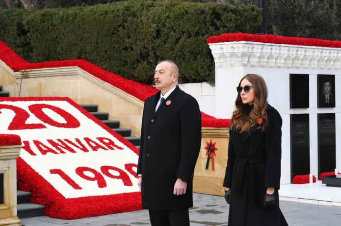 Le président azerbaïdjanais et la première dame rendent hommage aux martyrs du 20 Janvier - PHOTOS - VIDEO