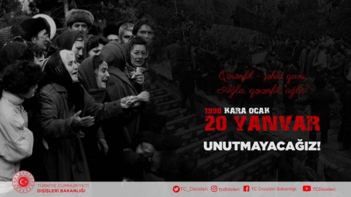Türkiyə XİN 20 Yanvarla bağlı paylaşım edib