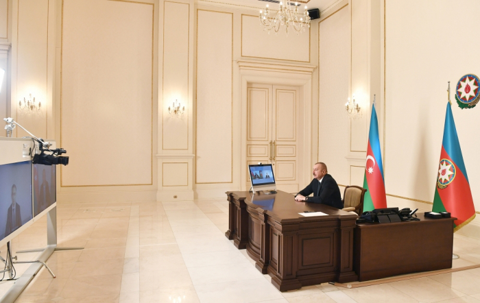 President Ilham Aliyev receives newly-appointed minister of transport in video format