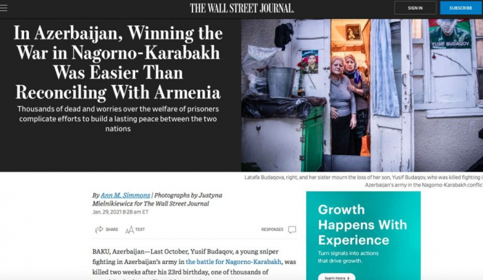 In Azerbaijan, Winning the War in Nagorno-Karabakh Was Easier Than Reconciling With Armenia -  WSJ