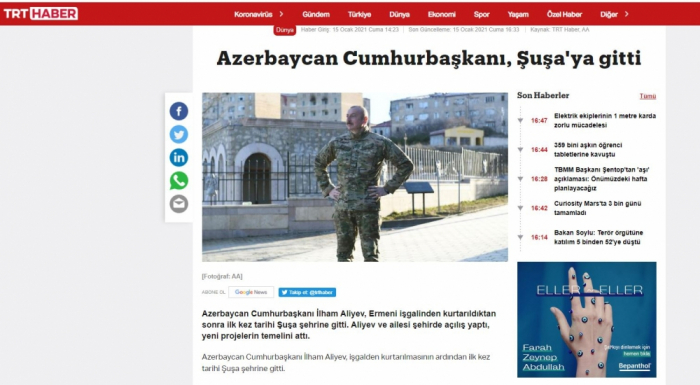 Turkish media highlight Azerbaijani President