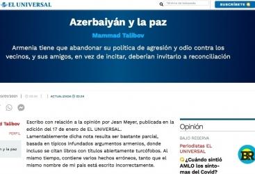 """El Universal: """"Azerbaiyán y la paz"""""""