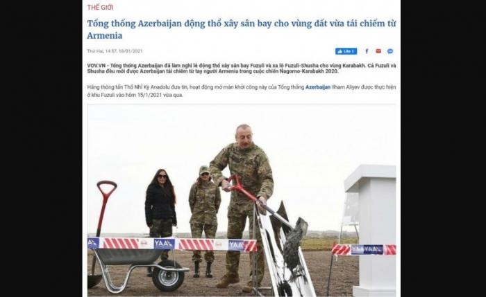 Los medios vietnamitas escriben sobre la visita de Ilham Aliyev a Shushá