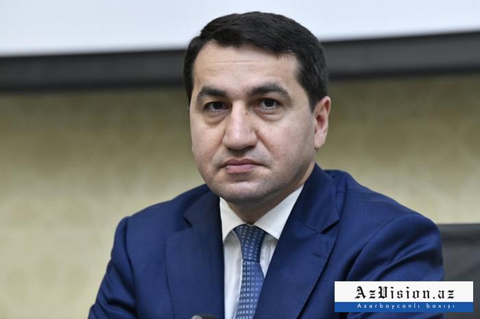 """""""Soyqırımın günahsız qurbanlarına ədalət tələb edirik"""" -  Hikmət Hacıyev"""
