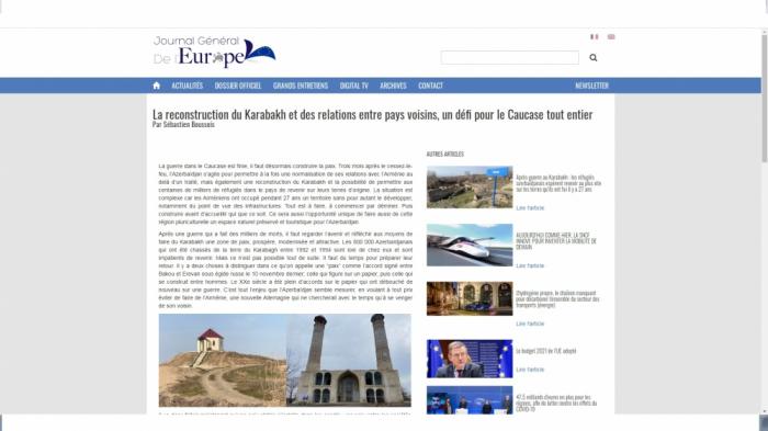 """""""Ermənistan Qarabağda hər şeyi məhv edib""""  -    Fransız jurnalist"""