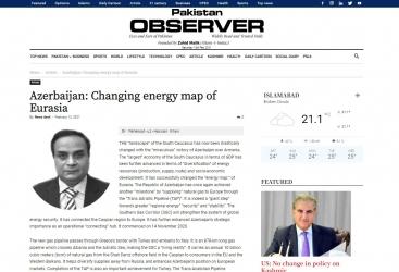 """""""Azərbaycan Avrasiyanın enerji xəritəsini dəyişir"""" -  Pakistanlı analitik"""