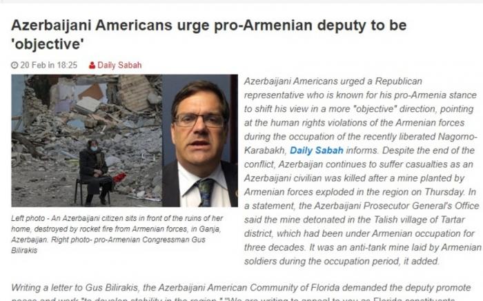 La diáspora azerbaiyana pidió al congresista pro-armenio que adopte una posición justa