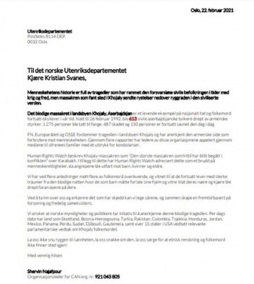 Appeal sent to Norwegian government regarding the Khojaly genocide