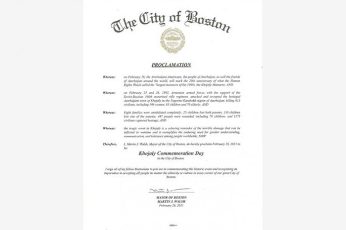 Boston meri 26 fevralı Xocalı soyqırımının anım günü elan etdi