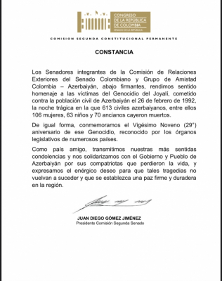 Colombian Senate adopts statement on 29th anniversary of Khojaly genocide