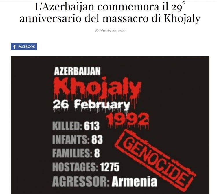 İtaliya mediası Xocalı soyqırımından yazıb