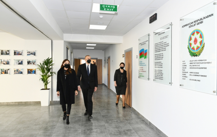 President Ilham Aliyev and first lady view conditions created at school-lyceum in Khirdalan - PHOTOS