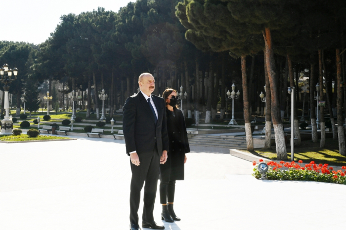 Azerbaijani president and first lady inaugurate several social facilities and newly laid forest park