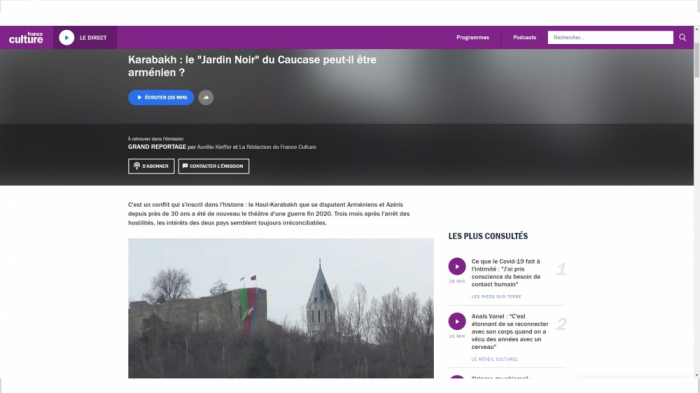 """France Culture"" emitió un programa sobre la victoria de Azerbaiyán en la guerra de Karabaj"