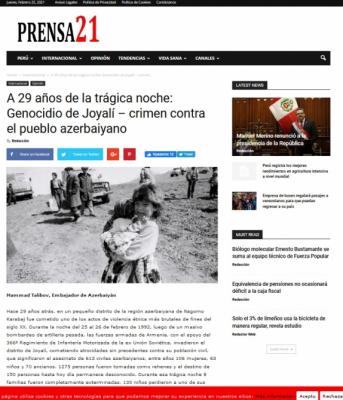 """El genocidio de Joyalí fue cubierto por la prensa peruana """"Prensa 21"""""""