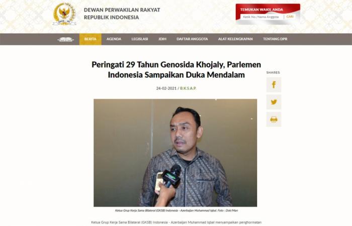 El Parlamento indonesio expresó sus condolencias en el 29º aniversario del genocidio de Joyalí