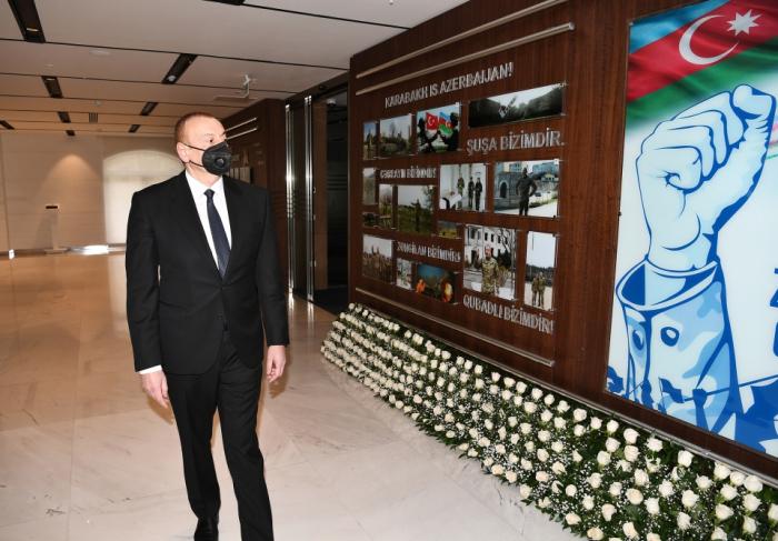 Prezident yeni inzibati binanın açılışında -  FOTOLAR+YENİLƏNİB