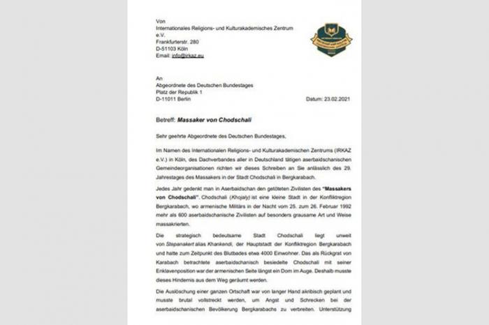 Des Azerbaïdjanais appellent le Bundestag allemand à reconnaître le génocide de Khodjaly