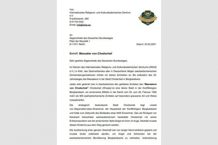 Azerbaijanis call on German Bundestag to recognize Khojaly genocide