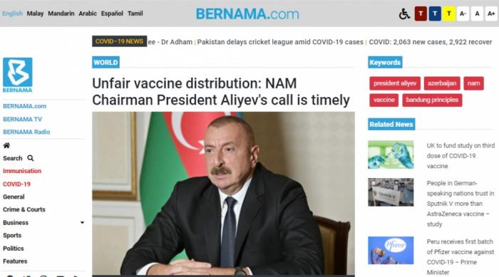 BERNAMA agentliyi:    İlham Əliyev peyvəndin ədalətsiz bölgüsü ilə bağlı vaxtında çağırış edir