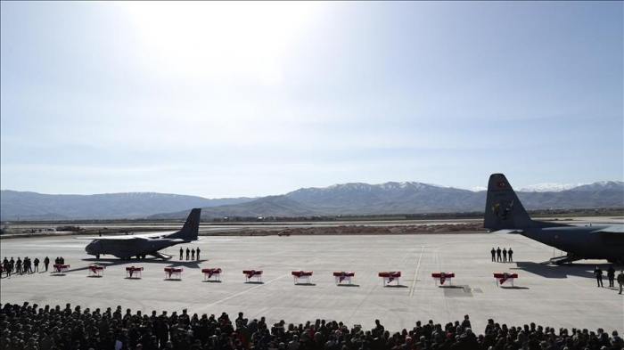 Turkey holds military funeral for helicopter crash victims