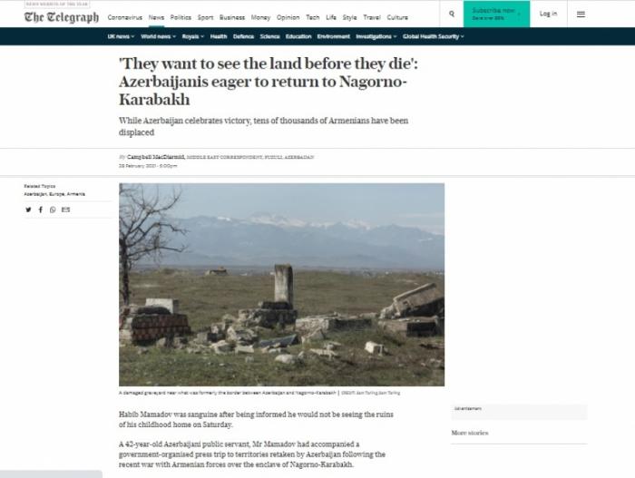 "The Telegraph:  ""Los azerbaiyanos esperan regresar a Karabaj"""