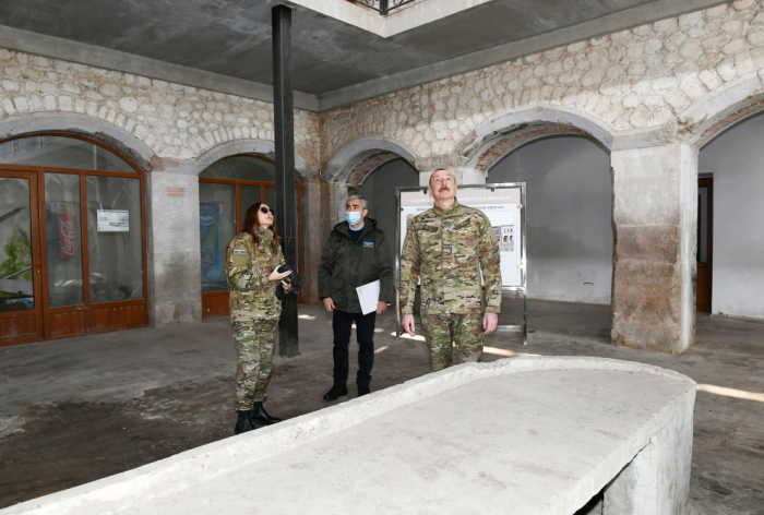 Azerbaijani president, first lady review restoration work at caravanserai in Shusha - PHOTOS