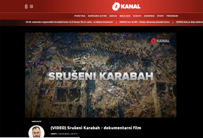 Bosnian TV channel airs story on Karabakh –   VIDEO
