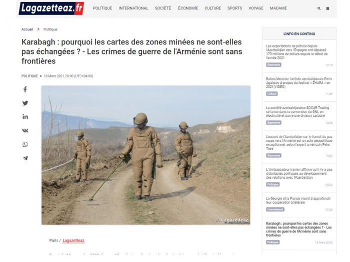 French media reports aboutArmenian war crimes