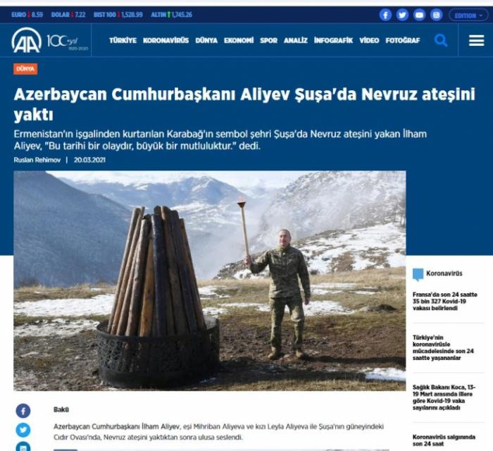 Türkiyə mediası Prezidentin Novruzu Şuşada qeyd etməsindən yazdı