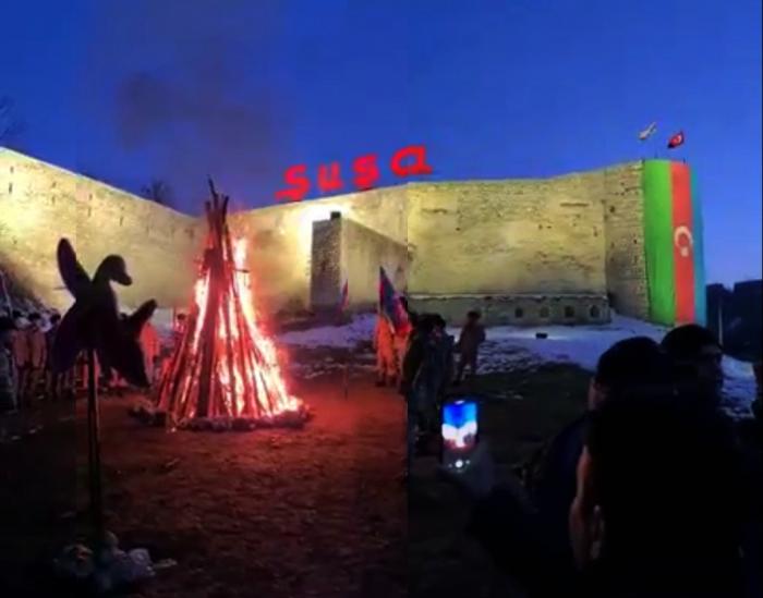 29 ildən sonra Şuşada bayram tonqalı yandırıldı - VİDEO