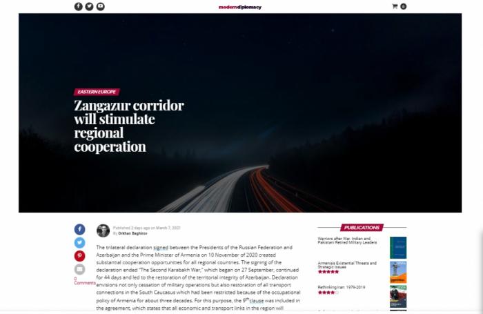 Modern Diplomacy: Zangazur corridor will stimulate regional cooperation