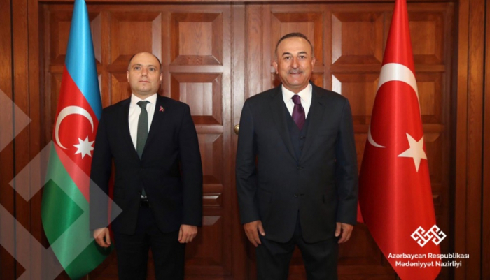 Ministro de Cultura de Azerbaiyán se reúne con el canciller turco