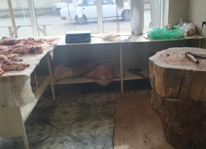 Qanunsuz fəaliyyət göstərən ət satışı mağazası aşkarlandı