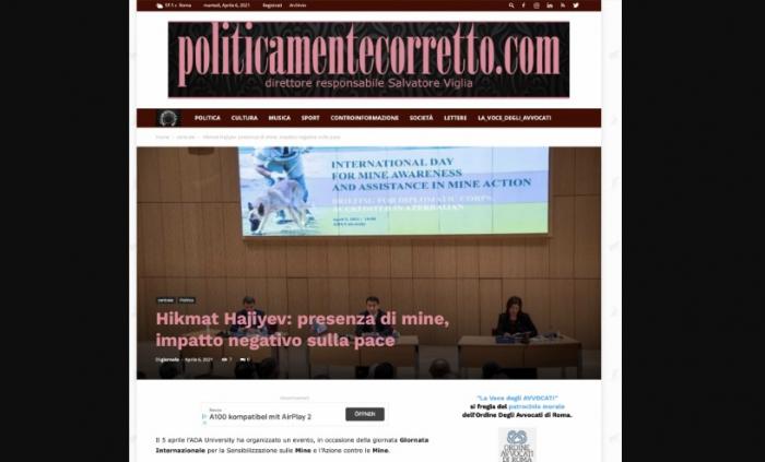 Des médias italiens parlent de la menace des mines terrestres au Karabagh