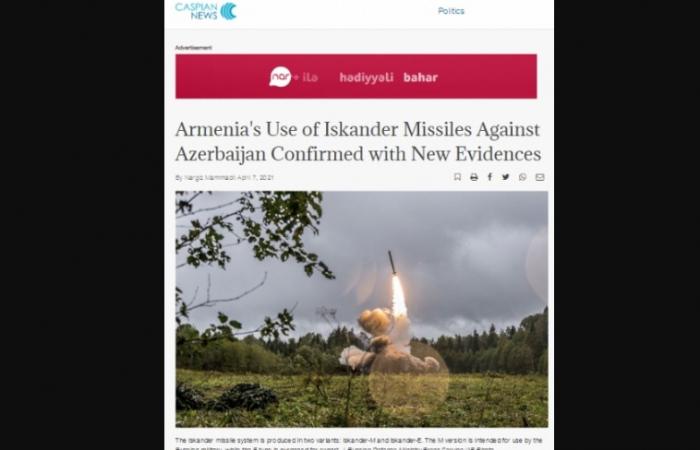 """Caspian News: """"Se confirma el uso de misiles """"Iskander"""" por parte de Armenia contra Azerbaiyán con nuevas pruebas"""""""