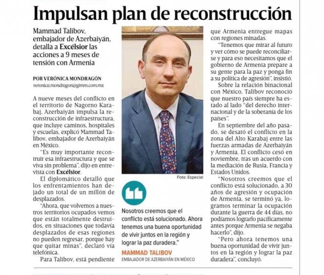 La prensa mexicana publica artículos sobreel trabajo de desminado y reconstrucción realizado por Azerbaiyán en los territorios liberados