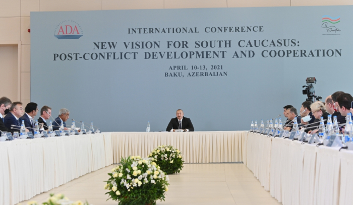 President Ilham Aliyev attends conference at ADA University