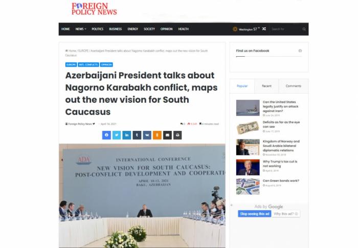 """Prezidentin ADA-dakı çıxışı """"Foreign Policy News"""" nəşrində"""